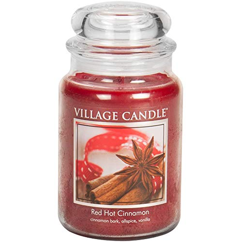 Cinnamon Scented Candle - Village Candle Red Hot Cinnamon 26 oz Glass Jar Scented Candle, Large