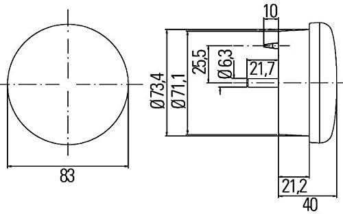 HELLA 2ZR 302 252-047 R/ückfahrleuchte 12V mit Gl/ühlampe