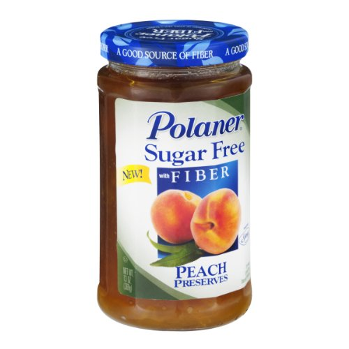 Polaner Sugar Free with Fiber, Peach Jam, 13 Ounce ()