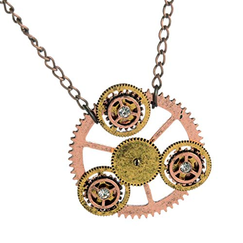 (Gear Charms Clock Wheel Pendant Necklace Steampunk Chain Vinatge Necklaces)