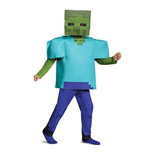 Disguise Zombie Minecraft Deluxe Child Costume, Green, Size/(4-6) -