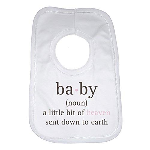 (Baby (noun) - a Little Bit of Heaven Sent Down to Earth - Baby Bib Personalised - Unisex - White)