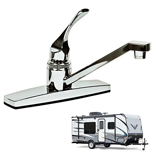 Single Lever Handle RV Kitchen Faucet Non-Metallic, Polished Chrome Finish, for Mobile Homes, Motorhomes, Travel Trailers, Campers