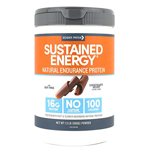 Designer Protein Sustained Energy, Chocolate Velvet, 1.5 Pound, Endurance Protein Powder (Best Protein Powder For Energy)