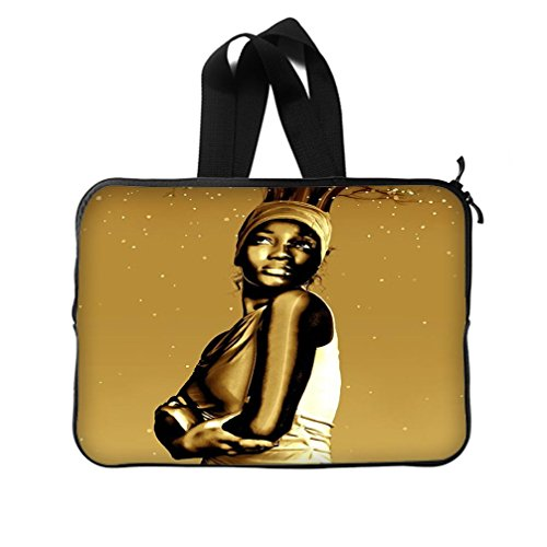 JIUDUIDODO Gifts Brown Bright African Woman Picture New Laptop Water Resistant Neoprene Sleeve 14 inch(Twin (Adult African King Costume)