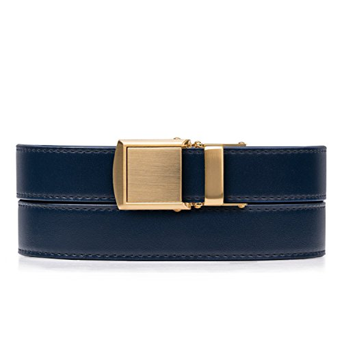 Navy Skinny Belt with Gold Buckle