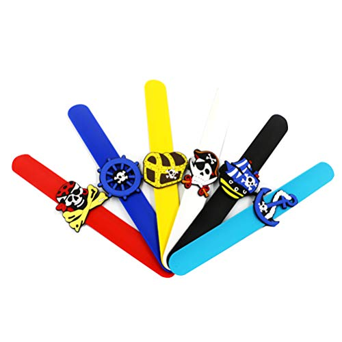 NUOBESTY 12 Pack Pirate Slap Bracelets, Kids Silicone Pirate Wristbands for Halloween Pirate Party Favors -