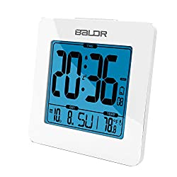 BALDR Digital Square Alarm Clock, Displays Time, Date, and Indoor Temperature, Blue Backlight (White)
