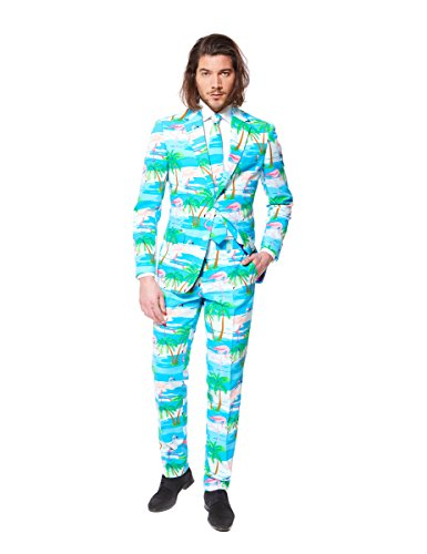 [OppoSuits Men's Flaminguy-Party Costume Suit, Turquoise/Mixed, 38] (Do It Yourself Costumes 2016)