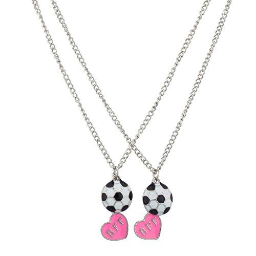 Lux Kids Girls White & Pink Soccer Futbol Fútbol & Valentine Heart BFF Best Friends Pendant (Costumes For 2 Friends)