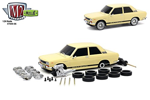- 1970 Datsun 510 Cream with Black Stripes Model Kit Limited Edition to 2,400 pieces Worldwide 1/24 Diecast Model Car by M2 Machines 47000-06 CRM