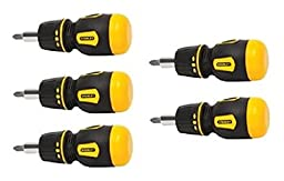 Stanley 66-358 Stubby Multi-Bit Ratcheting Screwdriver NIP (5 Pack)