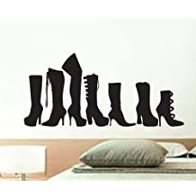 Boots Foot Shoe Fettish Vinyl Wall Art Sicker Decal Many Colors