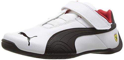 PUMA Unisex-Kids Ferrari Future Cat Velcro Sneaker, White Black, 10.5 M US Little Kid