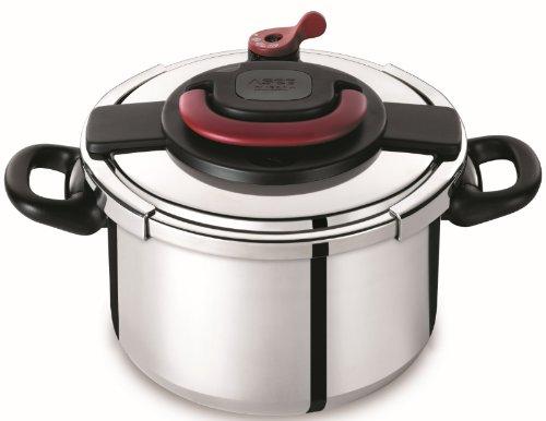 Autocuiseur SEB Clipso Plus P4371406 8L : 6 à 8 personnes - 2 programmes de cuisson - Panier vapeur - Ouverture/fermeture ultra facile - Poignées rabattables - Tous feux dont induction product image