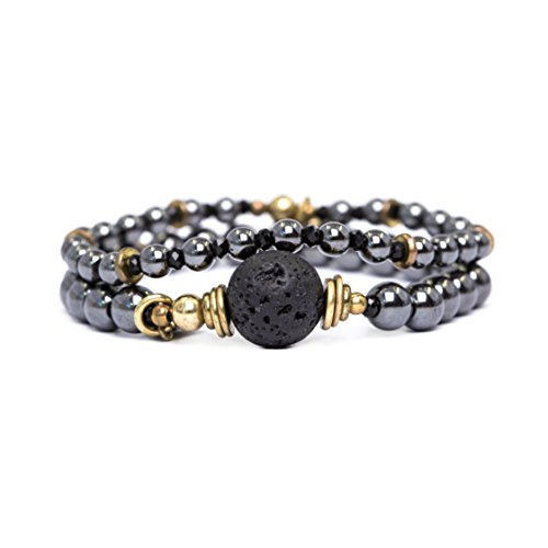 tom+alice Personality Set Of 2 Magnetic Hematite Beaded Stretch Bracelets with Essential Oil Lava Stone for Women (Stones Gold Magnetic Bracelet)