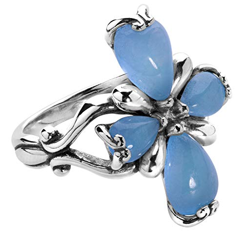 Carolyn Pollack Sterling Silver Blue Jade Gemstone Petal Cross Ring Size 7