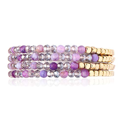 Bohemian Multi-Layer Sparkly Crystal Bead Charm Bracelet - Stretch Strand Stackable Bangle Set Tassel/Coin/Acrylic Druzy/Lava Diffuser Crescent (Delicate Natural Stone & Gold Mix - Purple) -