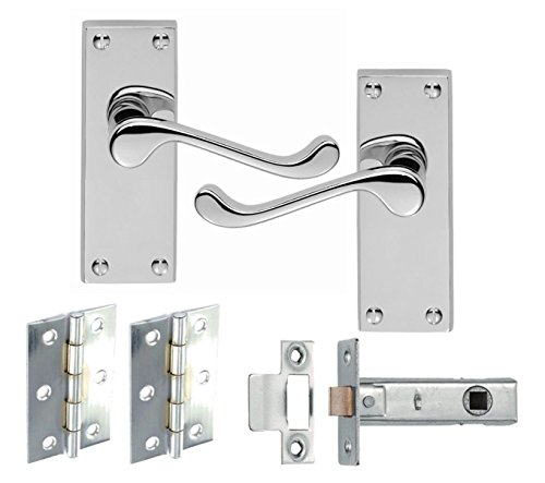 7 Sets of Victorian Scroll Latch Door Handles Polished Chrome Hinges & Latches Pack Sets 120MM X 40MM - Golden Grace