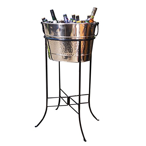 Hammered Party Tub - BREKX Hammered Stainless Steel Silver Beverage Tub with Black Iron Stand - Large Party Accessory