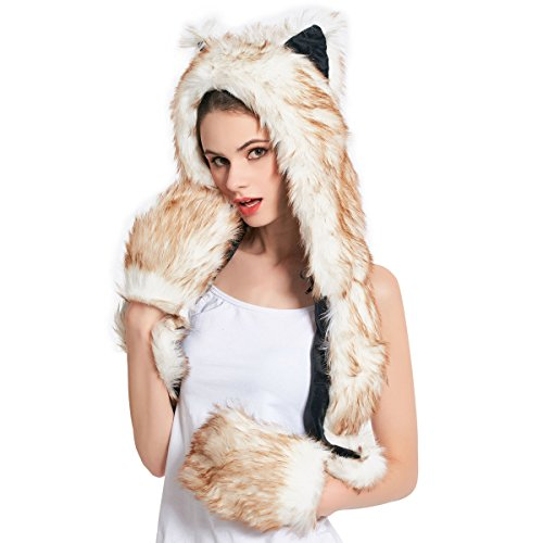 Faux Fur Animal Hat Scarf Gloves Mittens 3-in-3 Function Furry Hoodie with Paws Ears (Brown -
