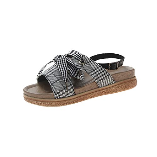 Benficial Women Summer Sandals Butterfly-Knot Wedges Round Toe Casual Shoes Black (Ladies Shoe Stretcher For High Heels Uk)