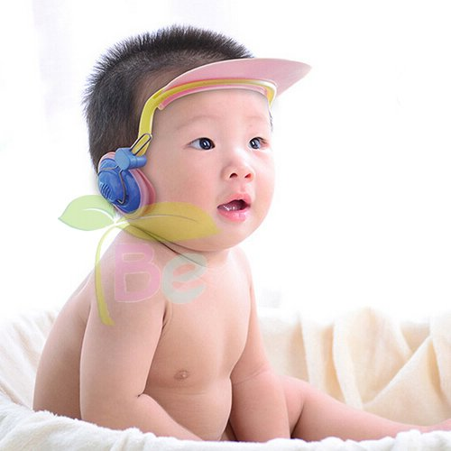 Children Earmuff Shampoo Bath Bathing Shower Cap Hat Wash Hair Shield for Baby Boys Girls (pink)