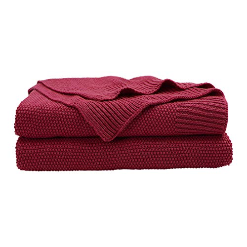 PICCOCASA 100% Cotton Solid Knit Throw Blanket,Lightweight Decorative Sofa Throws,Soft Red Knitted Throw Blankets for Sofa Couch,50