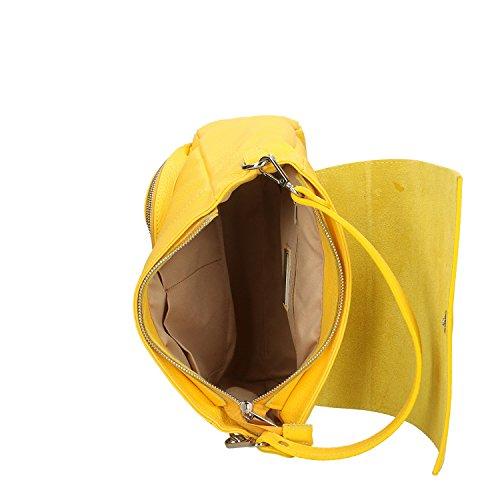 Borse Genuina 27x27x8 Italia En Fabricado Cm Mujer Amarillo Piel Bolso Chicca 1TdqUX1