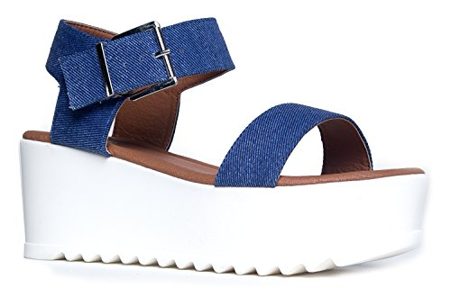 Surf Buckle Sandal, Blue Denim PU, 6.5 B(M) US