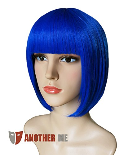 [Another Me Wig Women's Elegant Royal Blue Short Bob Wig 11.5 Inches Ultra Soft Neat Bangs Heat Resistant Fiber Party Cosplay] (Blue Wigs For Women)
