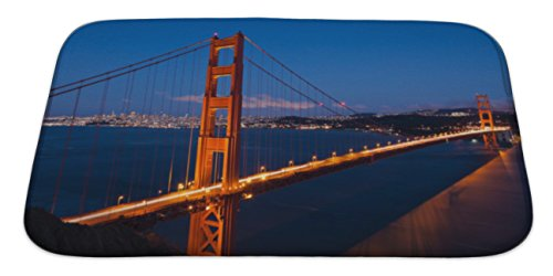 Micro Bridge Engineering (Gear New Bath Rug Mat No Slip Skid Microfiber Soft Plush Absorbent Memory Foam, Golden Gate Bridge By Night In San Francisco, 34x21)