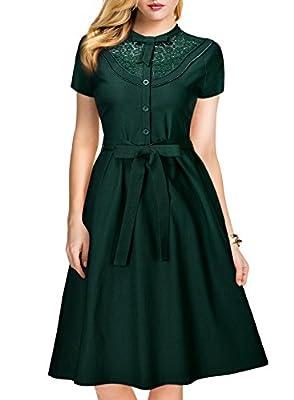 MissMay Women's Vintage 1940S Elegant Lace Short Sleeve A-Line Swing Dress