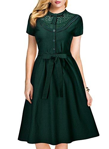 MissMay Women's Vintage 1920S Elegant Lace Short Sleeve A-Line Swing Dress