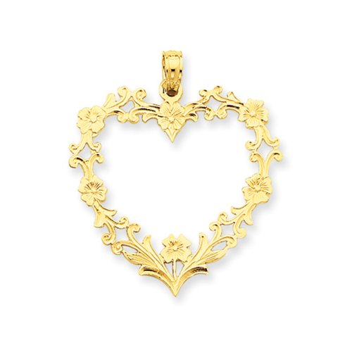 Large Floral Filigree - 14k Yellow Gold Floral Cutout Heart Pendant, 26mm