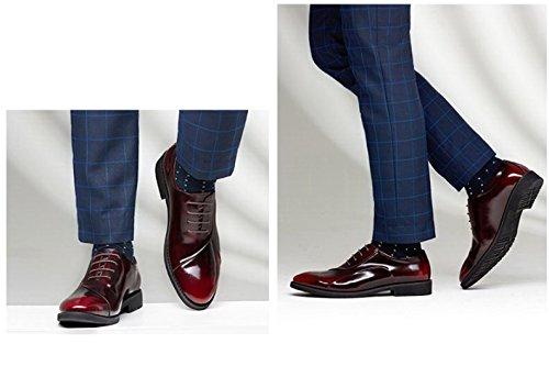 Echte Lederen Schoenen Mannen Spring Summer Luxe Blauw Claret Comfortabele Manier Toevallige Lage Hoogste Formele Derby Oxford Kant Loafers Zakelijke Schoenen Rood