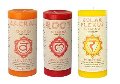 Crystal Journey Pillar Chakra candles bundle of 3 (Sacral Chakra, Root Chakra, Solar Plexus Chakra)