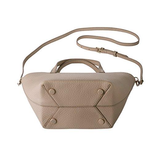 DUDU Mini Bag Borsa donna Piccola in Vera Pelle Chiusura Zip con Tracolla staccabile e Doppi manici Sabbia