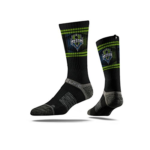 fan products of Strideline MLS Seattle Sounders Premium Athletic Crew Socks, Black, One Size