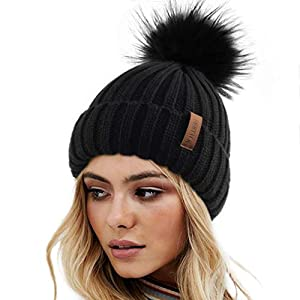 FURTALK Womens Winter Knitted Beanie Hat with Faux Fur Pom Warm Knit Skull Cap Beanie for Women