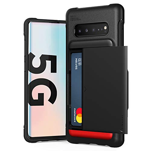 Galaxy S10 5G Case, VRS Design Slim Premium Wallet Case Card Holder Shockproof [Damda Glide Shield] [Matte Black] Reinforced Corners Compatible with Galaxy S10 5G, 6.7 inch (2019)