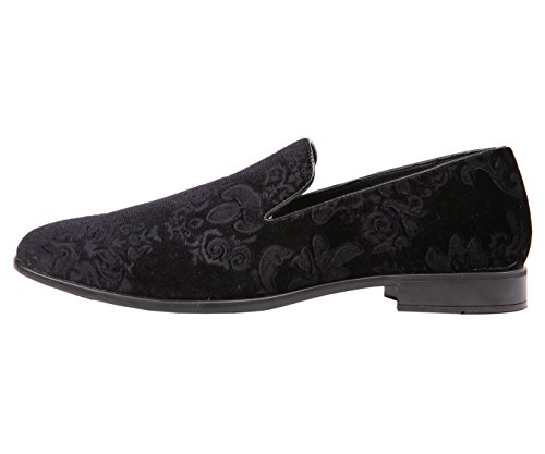 Mens Slip Bolano Dress Embossed and Comfortable and On Shoes Black Paisley Velvet Design Easy q1xdC4w