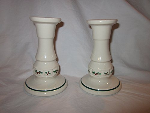 Pottery Candlestick (Longaberger Pottery Traditional Holly Berry Candlesticks (Set of Two) 5