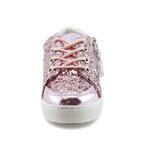 Link Dames Lace-up Wandelende Glanzende Sneakers (big Kid / Adults) Roze