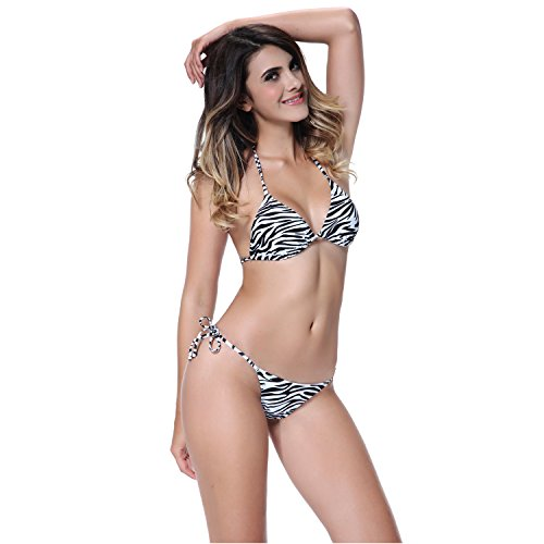 I-Glam Sexy Zebra Stripe Triangle Top With Tiny Thong Bottom Brazilian Bikini Swimwear S