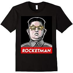 Mens Trump Rocket Man Kim Jong Un North Korea Funny Nuke Shirt 3XL Black