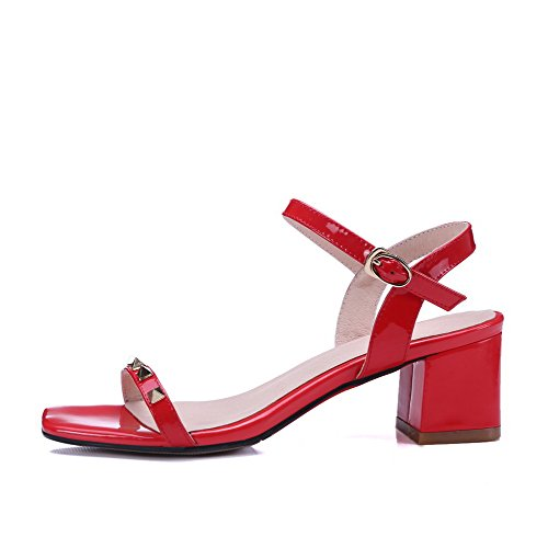 In Agoolar Sandals Solid Toe Kitten Da heels Red Verniciata Open Donna Pelle Fibbia fTRTg