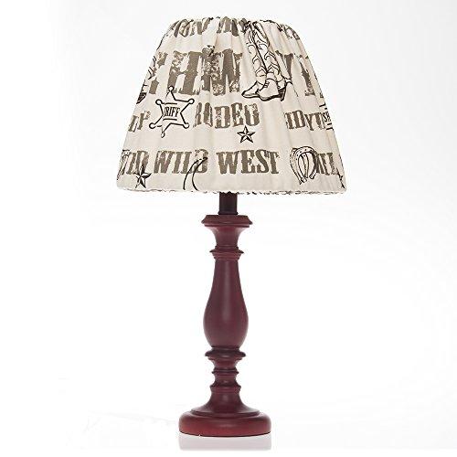 Glenna Jean Carson Red Lamp Base, Cowboy Print Shade