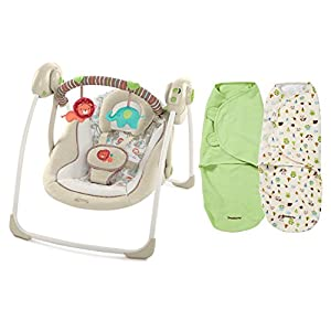 Comfort & Harmony Portable Swing with SwaddleMe Blankets