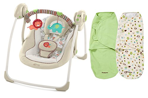 Comfort & Harmony Portable Swing with SwaddleMe Blankets by Comfort & Harmony
